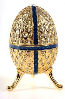 Faberge Musical Egg Trinket Box by Keren Kopal Swarovski Crystal