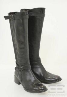Fabio Rusconi by Pegaso Black Leather Nylon Knee High Boots Size 38 5
