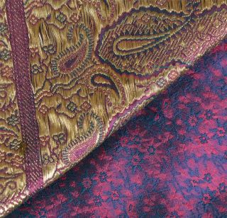 Vintage Sari Hand Woven Brocade Fabric Art Silk Heavy Indian Paisley