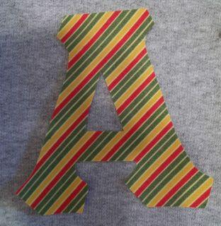 Red Green Gold Stripe Fabric Iron on Greek Letters Sorority Alpha