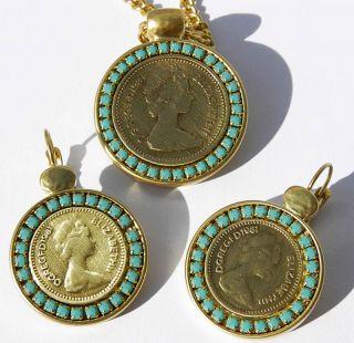Set Vtg Elizabeth II 1984 Coin Gold Plated 24K Earrings Necklace