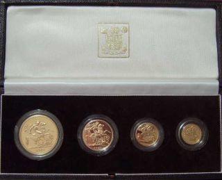 1982 Queen Elizabeth II 4 Coin Gold Proof Sovereign set.