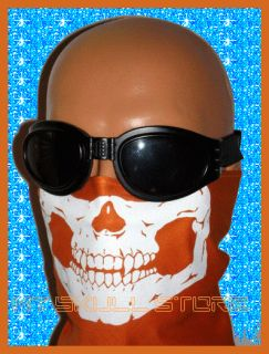 HARLEY ORANGE SKULL FACE TRIANGLE BANDANA MASK MOTORCYCLE BIKER BUG