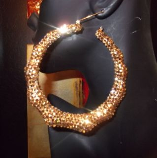 Extra Large 4 inch Swarovski Crystal Bamboo Custom Earrings Large Hoop