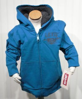 Levis Two Horse Brand Boys Sherpa Lined Full Zip Hoodie Sweatshirt 4 5