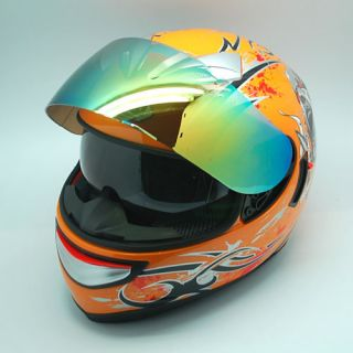 Dual Lens Double Shields Full Face Helmet Soar Orange