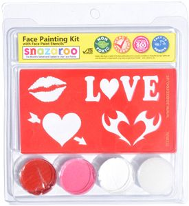 SNAZAROO Face Paint Painting Stencil Kit Valentine Day Lip Love Heart