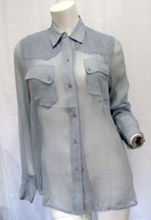 New Equipment Femme Baby Blue Sheer Silk Shirt Blouse Pockets L s