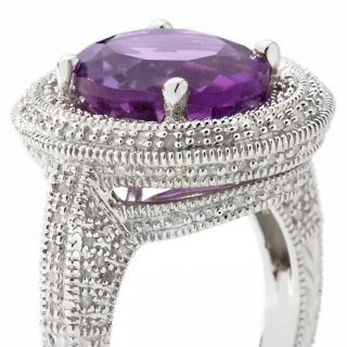 Ramona Singer 4.52ct Amethyst and Diamond Sterling Silver Oval Ring at