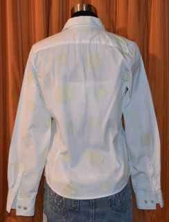 Faconnable Long Sleeve Blue Green White Floral Shirt Ladies Womens