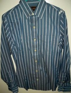 New Mens Ezra Fitch Long Sleeve Shirt Blue with Stripes Size Small $69