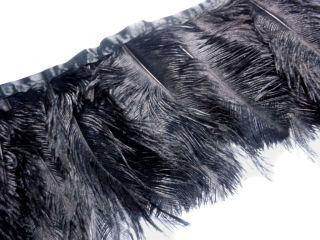 F132 per Feet Black Ostrich Feather on Fringe Trim Brooch Fascinator