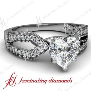 Style W 0.90 Ct Heart Shaped Diamond Engagement Ring SI2 F Color GIA