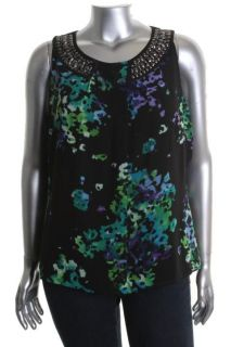 Ellen Tracy New Toast of The Town Black Printed Embellished Blouse Top