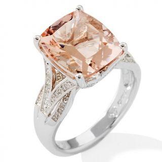 122 595 4 29ct peach morganite and diamond sterling silver cushion cut