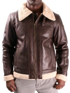 Sean John Faux Leather Mens Bomber Jacket Shearling