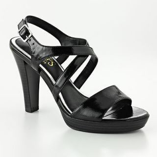 Chaps Erna Black Patent Pump Platform Dress Sandal New