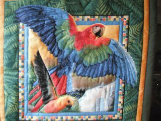 & Colorful Tropical Parrot Fabric Art Picture Quilted Wall Hanging