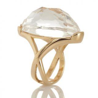 Technibond® Checkerboard Cut Oval Gemstone Ring
