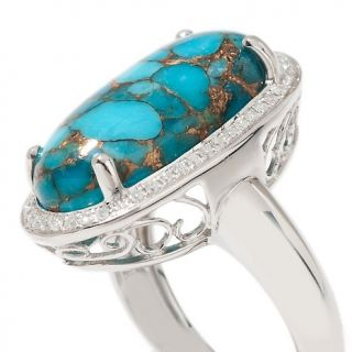 Heritage Gems Pebble Turquoise and Diamond Sterling Silver Oval Ring