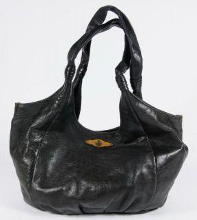 Elliott Lucca Black Leather Round Bottom Shoulder Bag