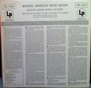 WALDEN QUARTET elliott carter string quartet LP VG+ ML 5104 Vinyl