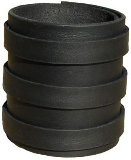 BLACK LEATHER Wristband Cuff Elliott Smith 3 x 1/2 Buckles