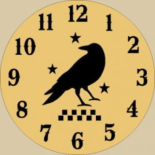 Primitive Clock Stencil Crow Stars Checkerboard Paint Country Kitchen