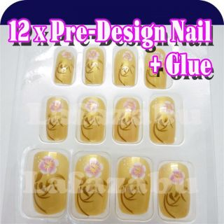 12 Pcs Pre Designed False Nail Tips Glue Nail Art LA017