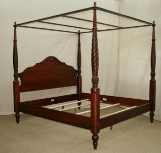 Ethan Allen British Classics Montego King Size Canopy Poster Bed