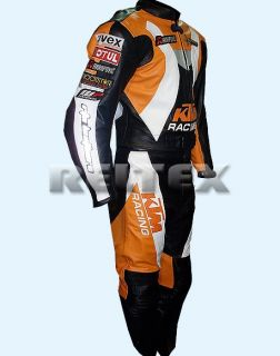 Orange Black KTM Racing Leather Motorcycle Biker Jacket Pant 2 PC Suit