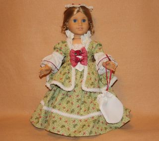 American Girl Doll Clothes Green and Cream Colonial Fancy Dress Hat