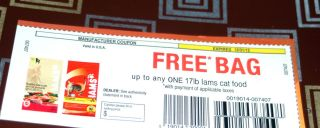 FREE BAG OF IAMS CAT FOOD COUPON UP TO 17LBS