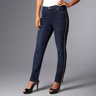 138 024 diane gilman embellished goldtone stud skinny jeans note