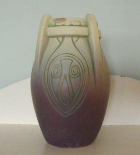 Antique Weller Jewel Vase Matte Purple Green 1915