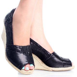 Canvas Sequins Peep Toe Women Espadrille Platform Wedge Shoes Size 8 5