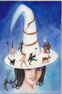 Print of Painting RYTA Magic Hat Black Cat Fantasy Art Goth