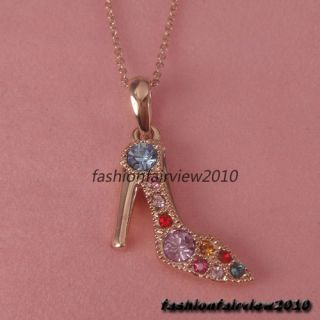 18K Rose Gold GP Colored Swarovski Crystal High Heel Shoe Pendant