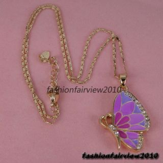 Colorful Butterfly Swarovski Crystal Dangle Earrings Necklace Jewelry