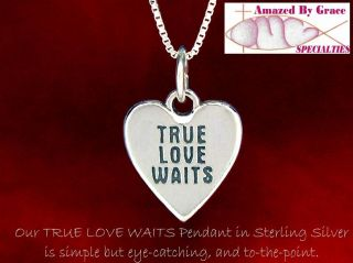Solid Sterling Silver True Love Waits Heart Necklace