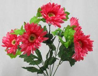 Fuchsia Pink Gerbera Daisy Wedding Bridal Bouquet Silk Flowers