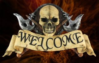 Pirates Welcome 3D Skull N Cross Axe Pirate Bar Sign