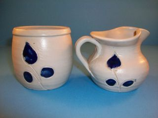 Williamsburg Pottery Salt Glaze Gray Cobalt Blue Creamer & Sugar Leaf