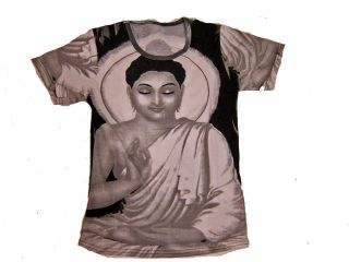 Buddhist Buddha Print Yoga Clothing Women Top T shirt Black White Tee
