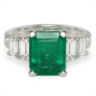 51 cttw Emerald Emerald Cut Diamond Engagement Ring