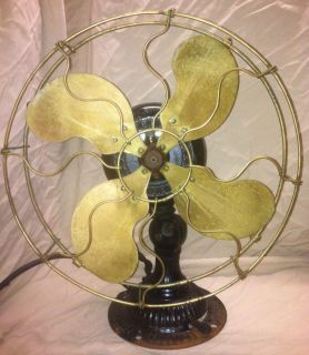 ANTIQUE EMERSON ELECTRIC FAN OSCILLATOR TYPE 2210 FLUTED BASE BRASS