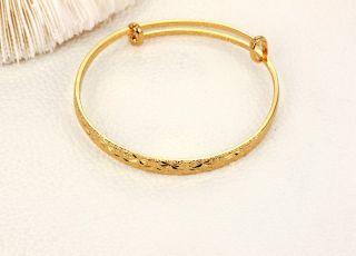 Fashion 18K Gold Plated Bracelet No Fade Bangle Wedding Adjustable