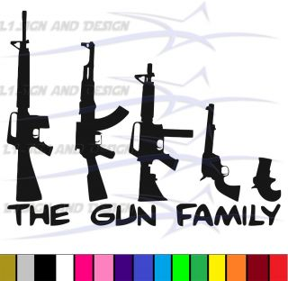 Gun Family Funny Rifle Pistol Shotgun Hunt NRA Shoot Car Window