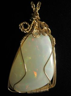 Ethiopian Opal Gold Plated Wire Wrap Pendant EI557