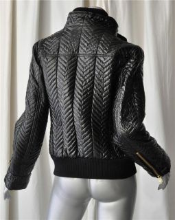 Fay Italy Quilted Glossy Black Bomber Puffer Jacket Coat Gold Zippers